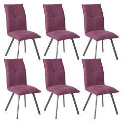 BISPO - Lot de 6 Chaises Tissu Coloris Violet