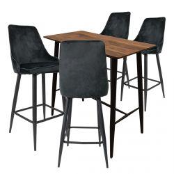 Tierno - Ensemble Table Haute + 4 Tabourets Velours Noir