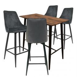 Tierno - Ensemble Table Haute + 4 Tabourets Velours Gris