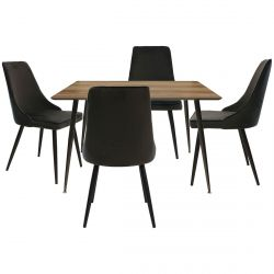 Timony - Ensemble Table Repas + 4 Chaises Velours Noir