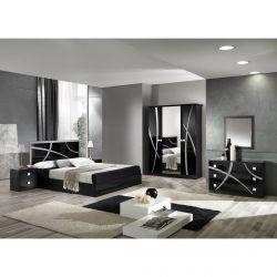 ALYSSA - Chambre Complète 160x200cm Noire et Argent