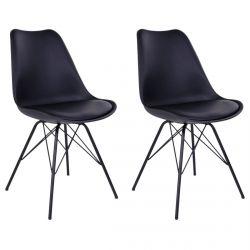 HAGA - Lot de 2 Chaises Noires avec Piétement Métallique