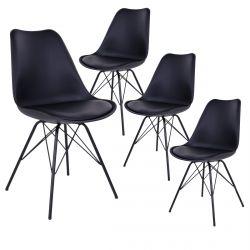 Haga - Lot de 4 Chaises Noires avec Piétement Métallique