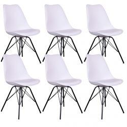 Haga - Lot de 6 Chaises Blanches avec Piétement Métallique