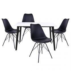 Gram - Ensemble Table Noire et Blanche + 4 Chaises Noires