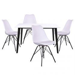 Gram - Ensemble Table Noire et Blanche + 4 Chaises Blanches