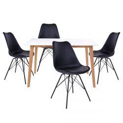 Gram - Ensemble Table Naturelle et Blanche + 4 Chaises Noires