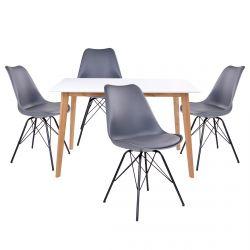 Gram - Ensemble Table Naturelle et Blanche + 4 Chaises Grises