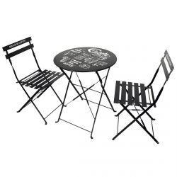 Eole - Table de Jardin et 2 Chaises Pliables Noires