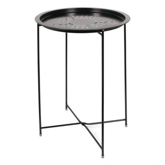 Rozeta - Table d'Appoint Ronde Métallique Noire