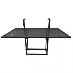 Alinda - Table de Balcon Pliable Noire Rectangulaire