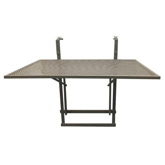 Alinda - Table de Balcon Pliable Taupe Rectangulaire