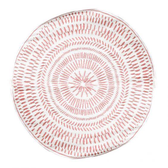 Blume - Tapis Rond 150cm Tissu Blanc et Brique