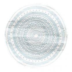LAIA - Tapis Rond 150cm Tissu Blanc et Bleu