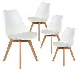 Medaline - Lot de 4 Chaises Scandinaves Blanches