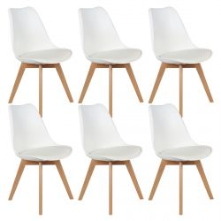 Medaline - Lot de 6 Chaises Scandinaves Blanches