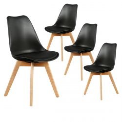Medaline - Lot de 4 Chaises Scandinaves Noires