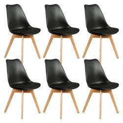Medaline - Lot de 6 Chaises Scandinaves Noires