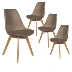 Medaline - Lot de 4 Chaises Scandinaves Taupe