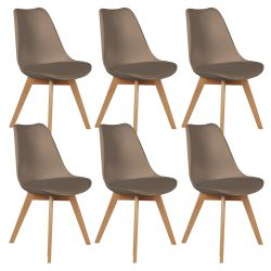 Medaline - Lot de 6 Chaises Scandinaves Taupe