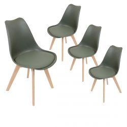 MEDALINE - Lot de 4 Chaises Scandinaves Kaki