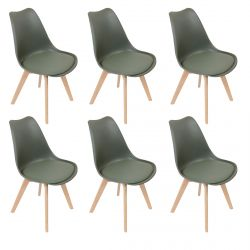 Medaline - Lot de 6 Chaises Scandinaves Kaki