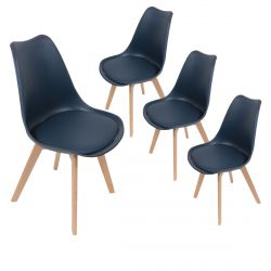MEDALINE - Lot de 4 Chaises Scandinaves Bleues