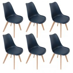MEDALINE - Lot de 6 Chaises Scandinaves Bleues