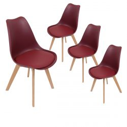 MEDALINE - Lot de 4 Chaises Scandinaves Bordeaux