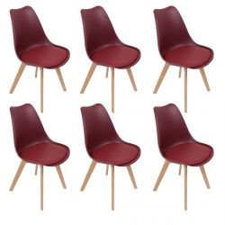 MEDALINE - Lot de 6 Chaises Scandinaves Bordeaux