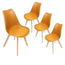 MEDALINE - Lot de 4 Chaises Scandinaves Jaunes