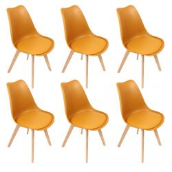 Medaline - Lot de 6 Chaises Scandinaves Jaunes