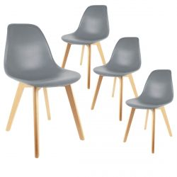Melya - Lot de 4 Chaises Scandinaves Grises