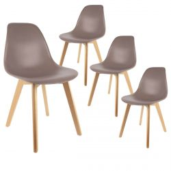 Melya - Lot de 4 Chaises Scandinaves Taupe