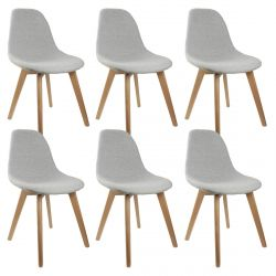 Medyna - Lot de 6 Chaises Scandinaves Grises