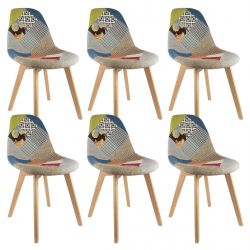 PATCHWORK - Lot de 6 Chaises Scandinaves Multicolore