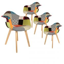 Patchwork - Lot de 4 Fauteuils Scandinaves Multicolore
