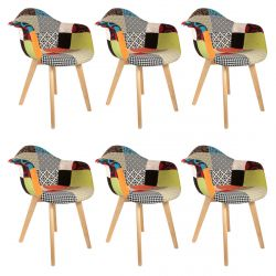 Patchwork - Lot de 6 Fauteuils Scandinaves Multicolore