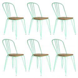 SCARLET - Lot de 6 Chaises Métalliques Vertes