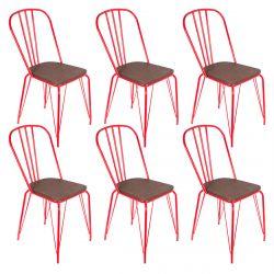 SCARLET - Lot de 6 Chaises Métalliques Rouges