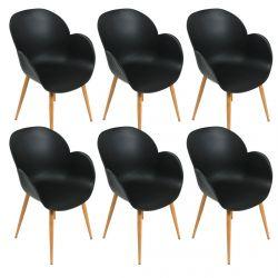 Skokie - Lot de 6 Fauteuils avec Coque Noire