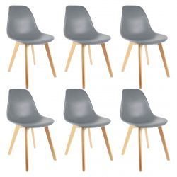 Melya - Lot de 6 Chaises Scandinaves Grises