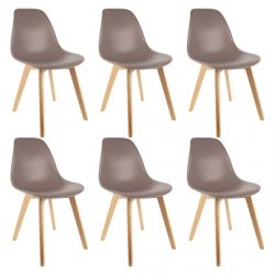Melya - Lot de 6 Chaises Scandinaves Taupe
