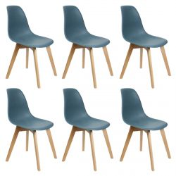 MELYA - Lot de 6 Chaises Scandinaves Bleu Canard