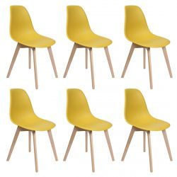 MELYA - Lot de 6 Chaises Scandinaves Jaune Moutarde