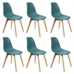 MELYA - Lot de 6 Chaises Scandinaves Bleu Céladon