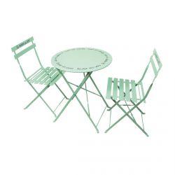 Hazel - Table de Jardin et 2 Chaises Pliables Vert d'Eau