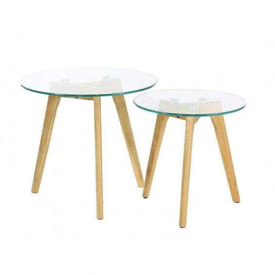 Glass - Lot de 2 Tables Gigognes Rondes Verre Trempé