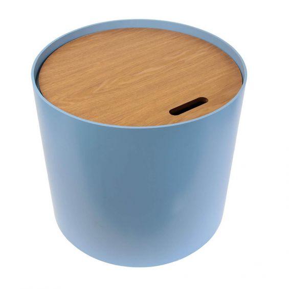 Brust - Table Basse Ronde Bleue avec Coffre