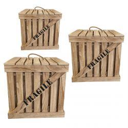 CARGO - Lot de 3 Cagettes de Rangement Naturelles